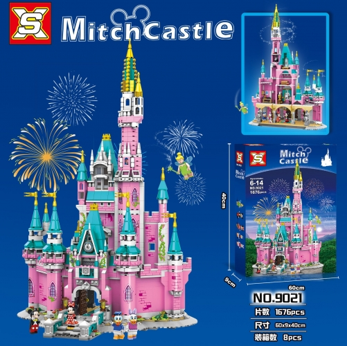 SX9021 1676pcs Pink Castle Paradise Building Block Toy Ship From China