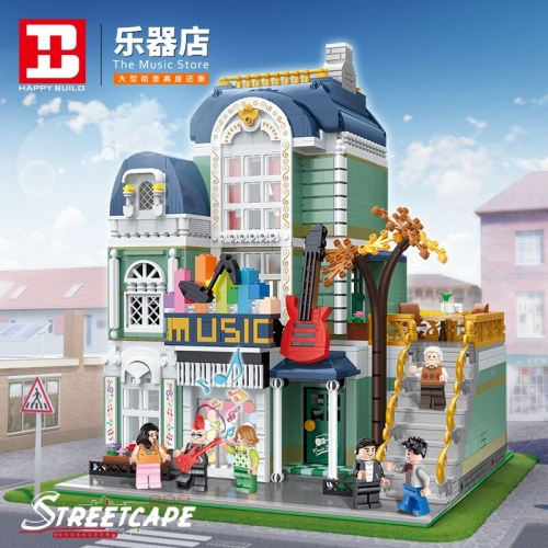 YC20008 3005pcs Urban Architecture Street View Series Musical Instrument Store Building Block Toy Model Ship From China