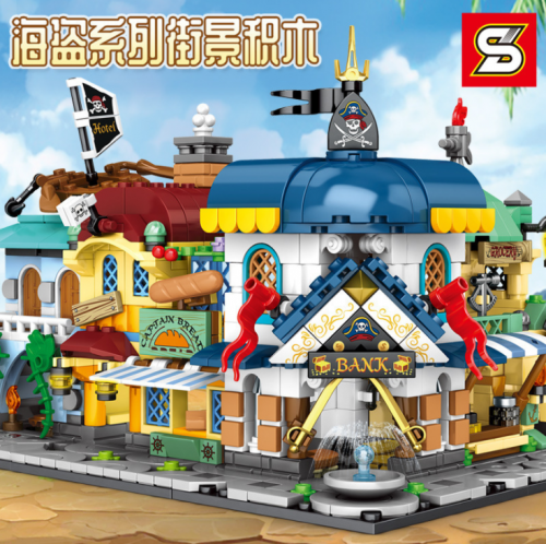 SY5300 799+pcs Pirate Little Street Scene Building Blocks Toy Ship From China