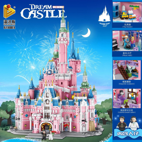 613003 9963pcs  Pink Dream Castle Building Blocks Model Toy Ship From China