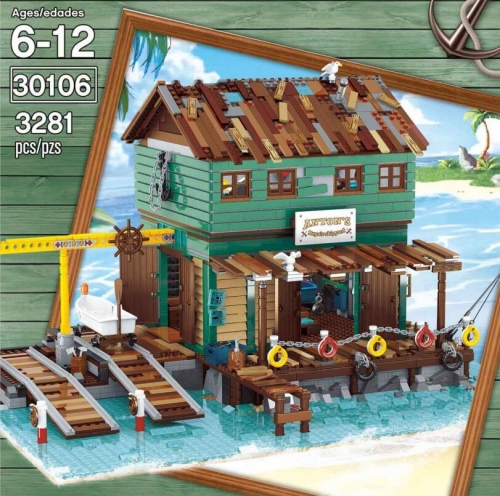 30106 3281PCS Creator Series Fisherman's Cabin at Shipyard Pier Building Block Toy Ship From China